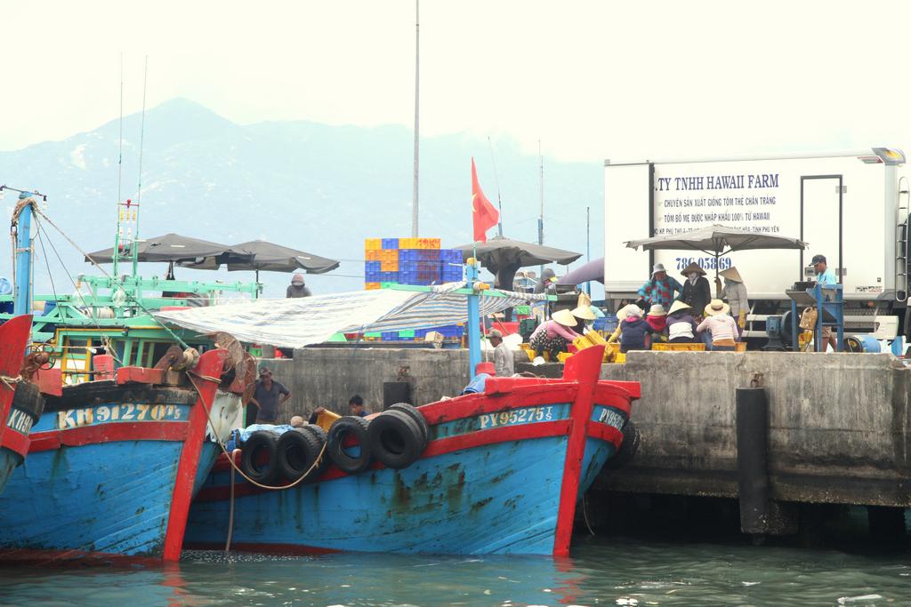 Cảnh chợ tàu tấp nập